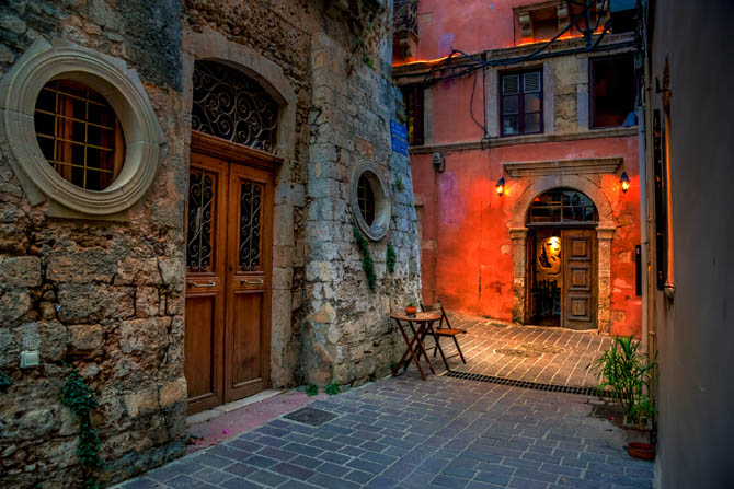 Narrow street in the old town of Chania, Crete