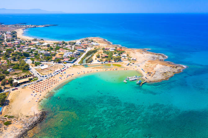 Amazing sandy beach of Stavros in a scenic lagoon, Chania
